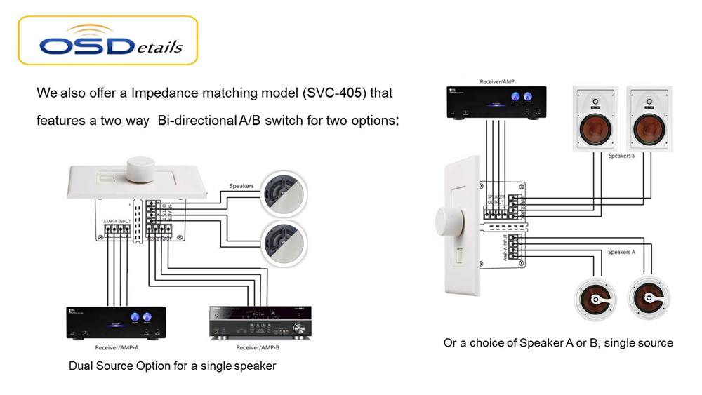 volume control impedance matching with a/b switch svc405 volume control wiring diagram for nutone wall ceiling speaker volume control wiring diagram