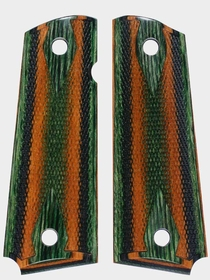 Camo Dymondwood Grips - Green Top - Double Diamond Checkered