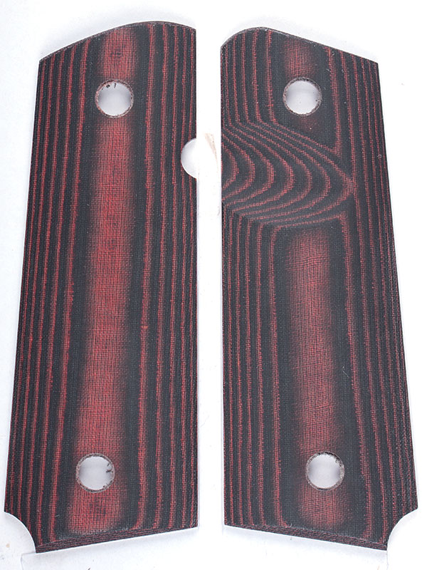 Slim springfield emp grips red and black linen phenolic with ambi