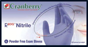 Cranberry R200 Cool Blue PF Nitrile Exam Gloves