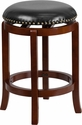 24'' High Backless Light Cherry Wood Counter Height Stool with Black Leather Swivel Seat [TA-68924-LC-CTR-GG]