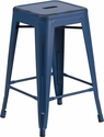 24'' High Backless Distressed Antique Blue Metal Indoor-Outdoor Counter Height Stool [ET-BT3503-24-AB-GG]