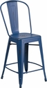 24'' High Distressed Antique Blue Metal Indoor-Outdoor Counter Height Stool with Back [ET-3534-24-AB-GG]