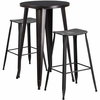 24'' Round Black-Antique Gold Metal Indoor-Outdoor Bar Table Set with 2 Distressed Backless Saddle Seat Barstools [CH-51080BH-2-ET30ST-BQ-GG]