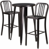 24'' Round Black-Antique Gold Metal Indoor-Outdoor Bar Table Set with 2 Vertical Slat Back Barstools [CH-51080BH-2-30VRT-BQ-GG]