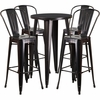 24'' Round Black-Antique Gold Metal Indoor-Outdoor Bar Table Set with 4 Cafe Barstools [CH-51080BH-4-30CAFE-BQ-GG]