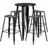 24'' Round Black-Antique Gold Metal Indoor-Outdoor Bar Table Set with 4 Distressed Backless Saddle Seat Barstools [CH-51080BH-4-ET30ST-BQ-GG]