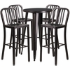 24'' Round Black-Antique Gold Metal Indoor-Outdoor Bar Table Set with 4 Vertical Slat Back Barstools [CH-51080BH-4-30VRT-BQ-GG]
