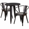 24'' Round Black-Antique Gold Metal Indoor-Outdoor Table Set with 2 Arm Chairs [CH-51080TH-2-18ARM-BQ-GG]