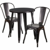24'' Round Black-Antique Gold Metal Indoor-Outdoor Table Set with 2 Cafe Chairs [CH-51080TH-2-18CAFE-BQ-GG]