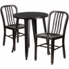 24'' Round Black-Antique Gold Metal Indoor-Outdoor Table Set with 2 Vertical Slat Back Chairs [CH-51080TH-2-18VRT-BQ-GG]