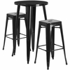 24'' Round Black Metal Indoor-Outdoor Bar Table Set with 2 Square Seat Backless Barstools [CH-51080BH-2-30SQST-BK-GG]