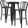 24'' Round Black Metal Indoor-Outdoor Bar Table Set with 2 Vertical Slat Back Barstools [CH-51080BH-2-30VRT-BK-GG]