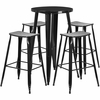 24'' Round Black Metal Indoor-Outdoor Bar Table Set with 4 Backless Saddle Seat Barstools [CH-51080BH-4-ET30ST-BK-GG]