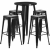 24'' Round Black Metal Indoor-Outdoor Bar Table Set with 4 Square Seat Backless Barstools [CH-51080BH-4-30SQST-BK-GG]