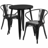 24'' Round Black Metal Indoor-Outdoor Table Set with 2 Arm Chairs [CH-51080TH-2-18ARM-BK-GG]