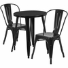 24'' Round Black Metal Indoor-Outdoor Table Set with 2 Cafe Chairs [CH-51080TH-2-18CAFE-BK-GG]