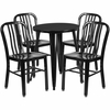 24'' Round Black Metal Indoor-Outdoor Table Set with 4 Vertical Slat Back Chairs [CH-51080TH-4-18VRT-BK-GG]