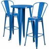 24'' Round Blue Metal Indoor-Outdoor Bar Table Set with 2 Cafe Barstools [CH-51080BH-2-30CAFE-BL-GG]