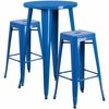 24'' Round Blue Metal Indoor-Outdoor Bar Table Set with 2 Square Seat Backless Barstools [CH-51080BH-2-30SQST-BL-GG]