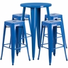 24'' Round Blue Metal Indoor-Outdoor Bar Table Set with 4 Square Seat Backless Barstools [CH-51080BH-4-30SQST-BL-GG]