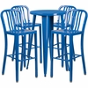 24'' Round Blue Metal Indoor-Outdoor Bar Table Set with 4 Vertical Slat Back Barstools [CH-51080BH-4-30VRT-BL-GG]