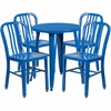 24'' Round Blue Metal Indoor-Outdoor Table Set with 4 Vertical Slat Back Chairs [CH-51080TH-4-18VRT-BL-GG]