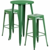 24'' Round Green Metal Indoor-Outdoor Bar Table Set with 2 Square Seat Backless Barstools [CH-51080BH-2-30SQST-GN-GG]