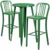 24'' Round Green Metal Indoor-Outdoor Bar Table Set with 2 Vertical Slat Back Barstools [CH-51080BH-2-30VRT-GN-GG]