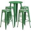 24'' Round Green Metal Indoor-Outdoor Bar Table Set with 4 Square Seat Backless Barstools [CH-51080BH-4-30SQST-GN-GG]