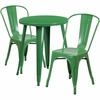 24'' Round Green Metal Indoor-Outdoor Table Set with 2 Cafe Chairs [CH-51080TH-2-18CAFE-GN-GG]