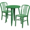 24'' Round Green Metal Indoor-Outdoor Table Set with 2 Vertical Slat Back Chairs [CH-51080TH-2-18VRT-GN-GG]