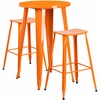 24'' Round Orange Metal Indoor-Outdoor Bar Table Set with 2 Backless Saddle Seat Barstools [CH-51080BH-2-ET30ST-OR-GG]