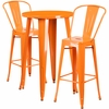 24'' Round Orange Metal Indoor-Outdoor Bar Table Set with 2 Cafe Barstools [CH-51080BH-2-30CAFE-OR-GG]