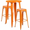 24'' Round Orange Metal Indoor-Outdoor Bar Table Set with 2 Square Seat Backless Barstools [CH-51080BH-2-30SQST-OR-GG]