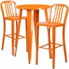 24'' Round Orange Metal Indoor-Outdoor Bar Table Set with 2 Vertical Slat Back Barstools [CH-51080BH-2-30VRT-OR-GG]