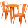 24'' Round Orange Metal Indoor-Outdoor Table Set with 2 Cafe Chairs [CH-51080TH-2-18CAFE-OR-GG]