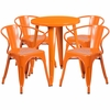 24'' Round Orange Metal Indoor-Outdoor Table Set with 4 Arm Chairs [CH-51080TH-4-18ARM-OR-GG]