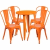 24'' Round Orange Metal Indoor-Outdoor Table Set with 4 Cafe Chairs [CH-51080TH-4-18CAFE-OR-GG]