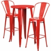 24'' Round Red Metal Indoor-Outdoor Bar Table Set with 2 Cafe Barstools [CH-51080BH-2-30CAFE-RED-GG]