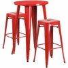 24'' Round Red Metal Indoor-Outdoor Bar Table Set with 2 Square Seat Backless Barstools [CH-51080BH-2-30SQST-RED-GG]