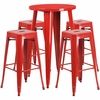 24'' Round Red Metal Indoor-Outdoor Bar Table Set with 4 Square Seat Backless Barstools [CH-51080BH-4-30SQST-RED-GG]