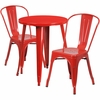24'' Round Red Metal Indoor-Outdoor Table Set with 2 Cafe Chairs [CH-51080TH-2-18CAFE-RED-GG]