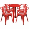 24'' Round Red Metal Indoor-Outdoor Table Set with 4 Arm Chairs [CH-51080TH-4-18ARM-RED-GG]