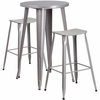24'' Round Silver Metal Indoor-Outdoor Bar Table Set with 2 Backless Saddle Seat Barstools [CH-51080BH-2-ET30ST-SIL-GG]