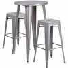 24'' Round Silver Metal Indoor-Outdoor Bar Table Set with 2 Square Seat Backless Barstools [CH-51080BH-2-30SQST-SIL-GG]