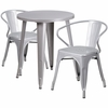 24'' Round Silver Metal Indoor-Outdoor Table Set with 2 Arm Chairs [CH-51080TH-2-18ARM-SIL-GG]