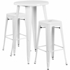 24'' Round White Metal Indoor-Outdoor Bar Table Set with 2 Square Seat Backless Barstools [CH-51080BH-2-30SQST-WH-GG]