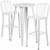 24'' Round White Metal Indoor-Outdoor Bar Table Set with 2 Vertical Slat Back Barstools [CH-51080BH-2-30VRT-WH-GG]