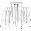 24'' Round White Metal Indoor-Outdoor Bar Table Set with 4 Backless Saddle Seat Barstools [CH-51080BH-4-ET30ST-WH-GG]